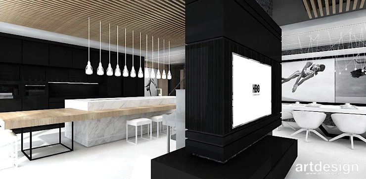 otwarta strefa dzienna w domu: styl , w kategorii Kuchnia zaprojektowany przez ARTDESIGN architektura wnętrz