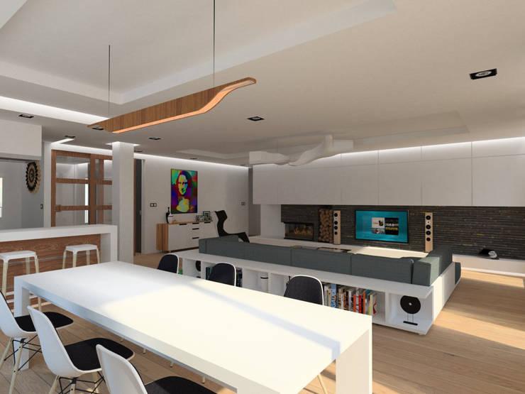 Apartamento (sala estar): Salas de estar  por Symbioses - Design & Construção