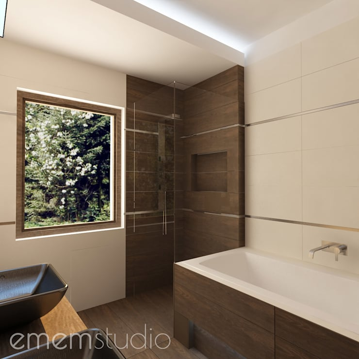 Walerianowo Projekt : styl , w kategorii Łazienka zaprojektowany przez EMEMSTUDIO ,