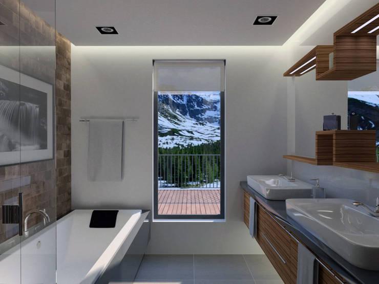Apartamento (Casa de Banho): Casas de banho modernas por Symbioses - Design & Construção