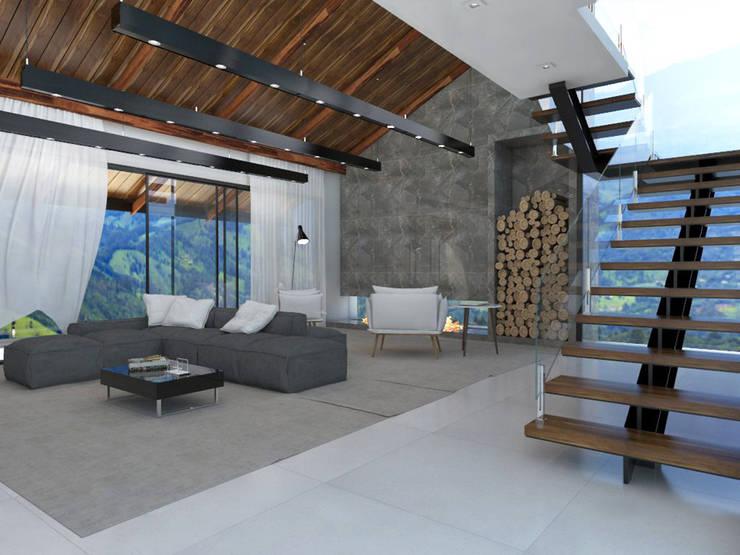 Sala de Estar - Casa de Campo: Salas de estar  por Teia Archdecor