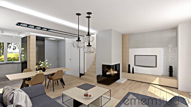 dom w Chomęcicach.: styl , w kategorii Salon zaprojektowany przez EMEMSTUDIO