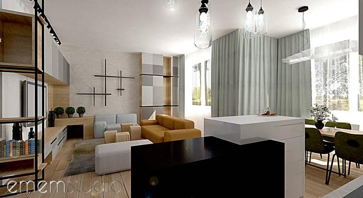 Kamienica Jeżyce : styl , w kategorii Salon zaprojektowany przez EMEMSTUDIO