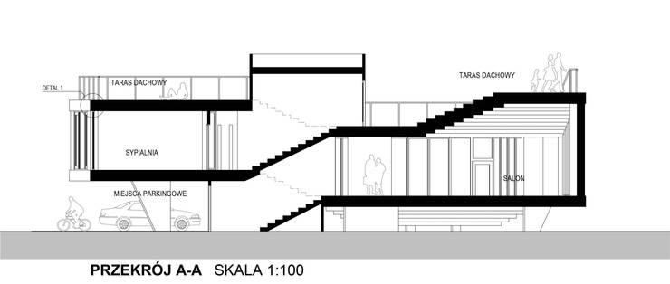 Dom Latający Dywan - przekrój podłóżny: styl , w kategorii  zaprojektowany przez S.LAB architektura Tomasz Sachanowicz