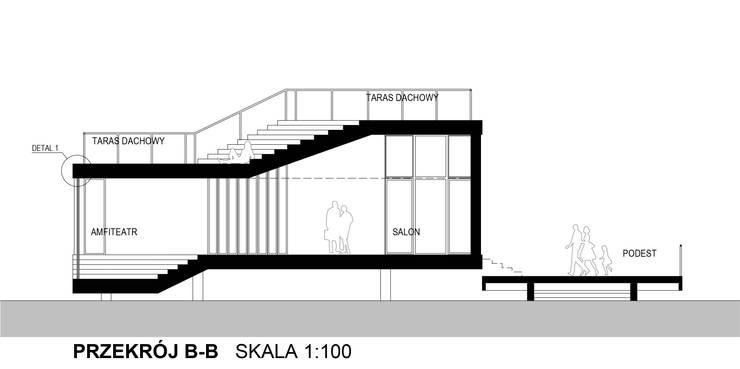 Dom Latający Dywan - przekrój poprzeczny: styl , w kategorii  zaprojektowany przez S.LAB architektura Tomasz Sachanowicz