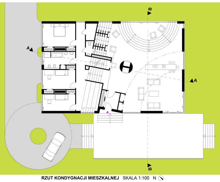 Dom Latający Dywan - rzut parteru: styl , w kategorii  zaprojektowany przez S.LAB architektura Tomasz Sachanowicz