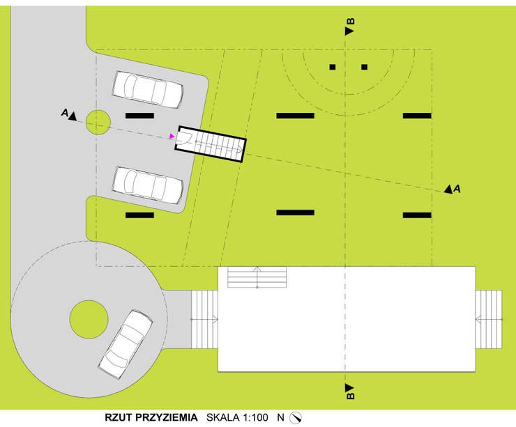 Dom Latający Dywan - rzut przyziemia: styl , w kategorii  zaprojektowany przez S.LAB architektura Tomasz Sachanowicz