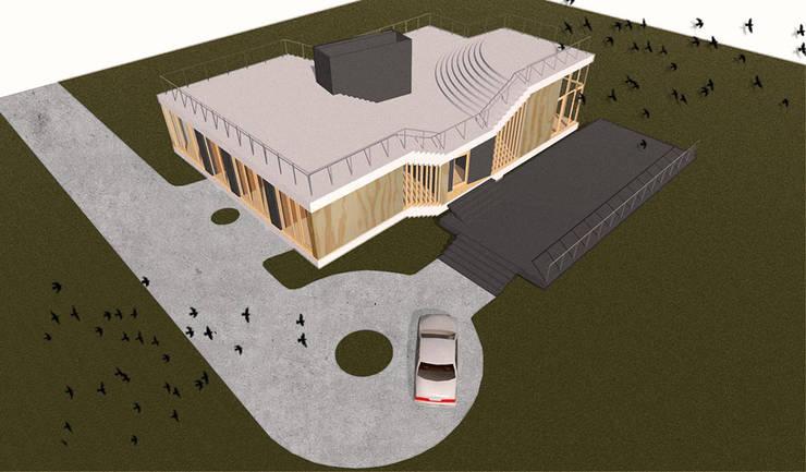 Dom Latający Dywan - widok z lotu ptaka: styl , w kategorii  zaprojektowany przez S.LAB architektura Tomasz Sachanowicz