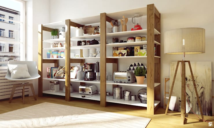 """Interiores y mobiliario """"Barü Deco Design"""": Livings de estilo moderno por SF Render"""