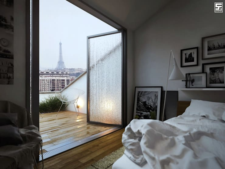 Paris in the rain: Dormitorios de estilo  por SF Render