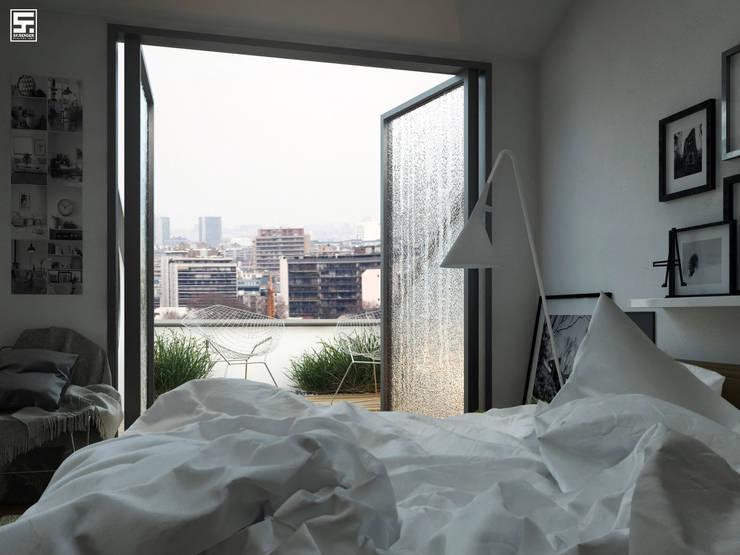 Paris in the rain: Dormitorios de estilo  por SF Render