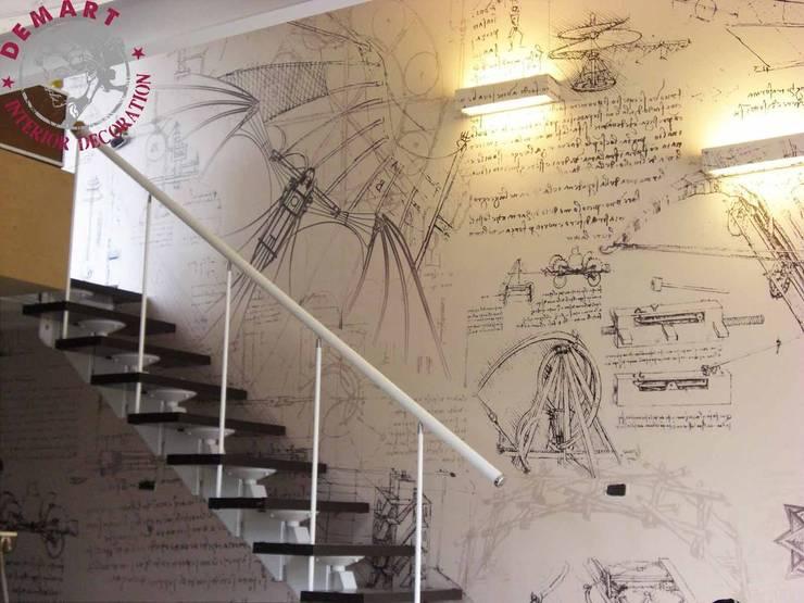 Decorazione pareti appartamento mansarda a tema leonardo for Decorazione di casa