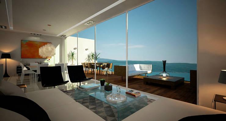 Casa en Acapulco: Salas de estilo  por Citlali Villarreal Interiorismo & Diseño