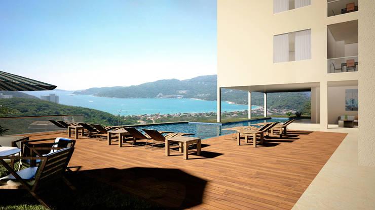 Casa en Acapulco: Albercas de estilo  por Citlali Villarreal Interiorismo & Diseño