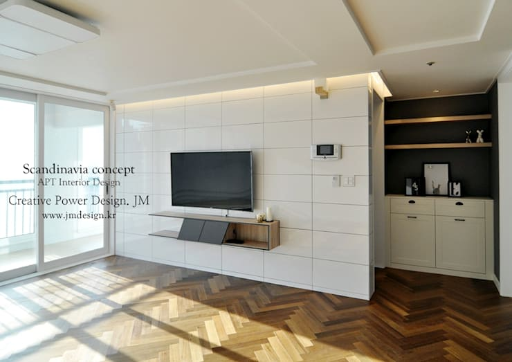 우만동 월드메르디앙 39평: JMdesign 의  거실,인더스트리얼