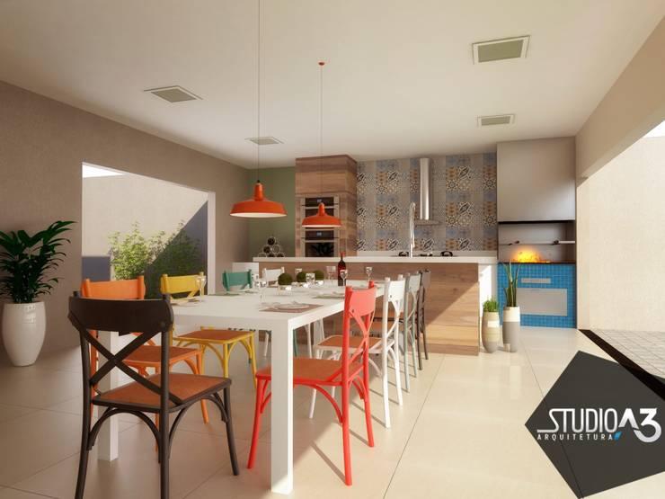 Cocinas de estilo moderno por Studio A3 Arquitetura
