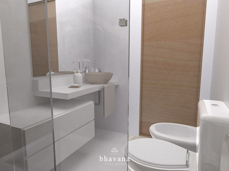 Baño principal: Baños de estilo escandinavo por Bhavana