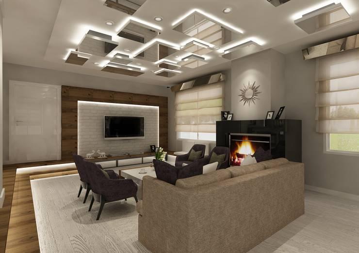PRATIKIZ Mimarlık/ Architecture – Salon: modern tarz Oturma Odası