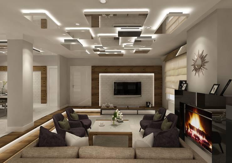 Living room تنفيذ PRATIKIZ MIMARLIK/ ARCHITECTURE