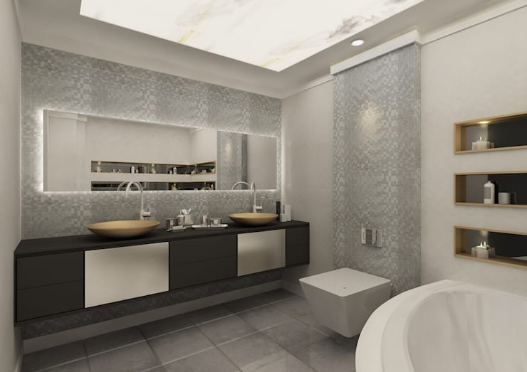 PRATIKIZ Mimarlık/ Architecture – Banyo: modern tarz Banyo