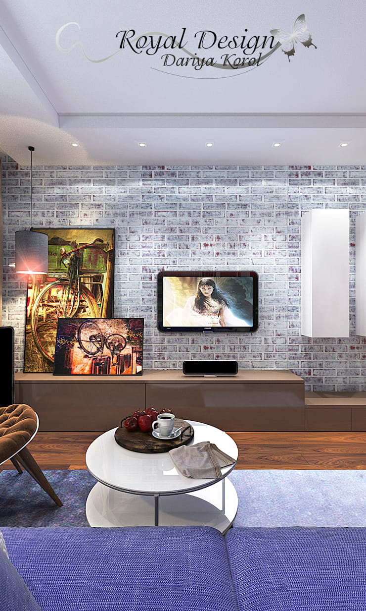 Living room by Your royal design, Industrial Bricks