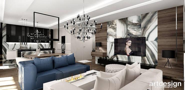 projekt wnętrza salonu w apartamencie: styl , w kategorii Salon zaprojektowany przez ARTDESIGN architektura wnętrz,Nowoczesny
