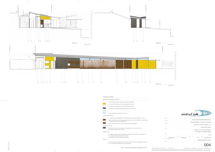 Corte longitudinal do edifício principal: Espaços de restauração  por Pedro Ferro Alpalhão Arquitecto