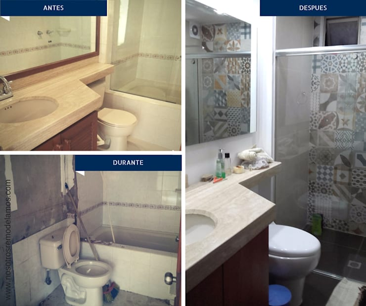 Proyectos Remodelación: Baños de estilo  por Nosotros Remodelamos, Moderno