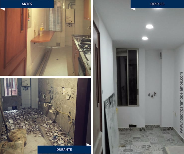 Proyectos Remodelación: Pasillos y vestíbulos de estilo  por Nosotros Remodelamos, Moderno
