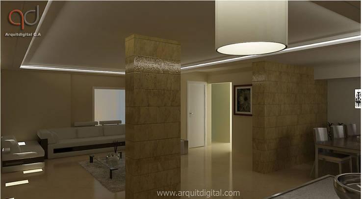 Proyectos: Salas / recibidores de estilo moderno por Arquitdigital