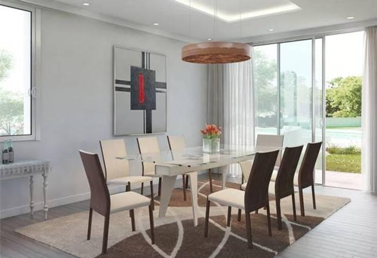 Amoblamientos en ambientes: Comedores de estilo moderno por Grundnig Haus Amoblamientos