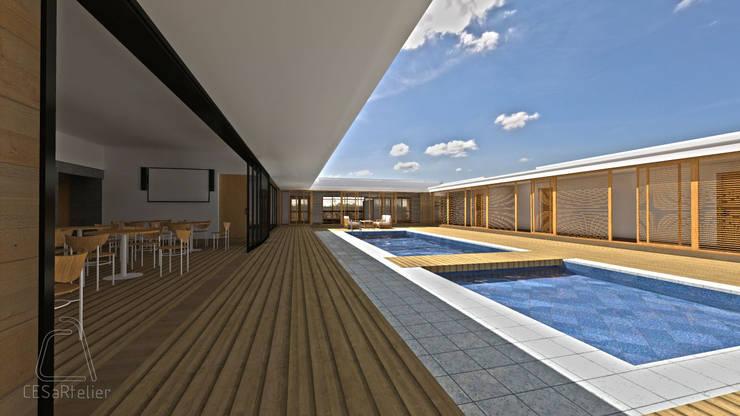 Vista do passadeira do pátio interior e da piscina:   por CESaRtelier