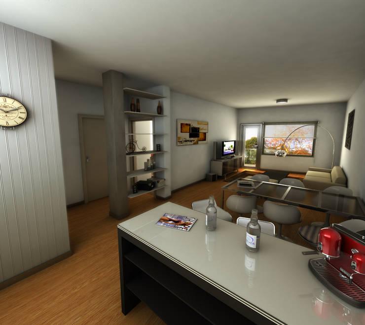 EDIFICIO DORREGO MKT: Livings de estilo  por Muras Oficina de Arquitectura,