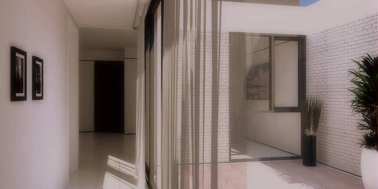 Vivienda Patio: Pasillos y recibidores de estilo  por LK ESTUDIO