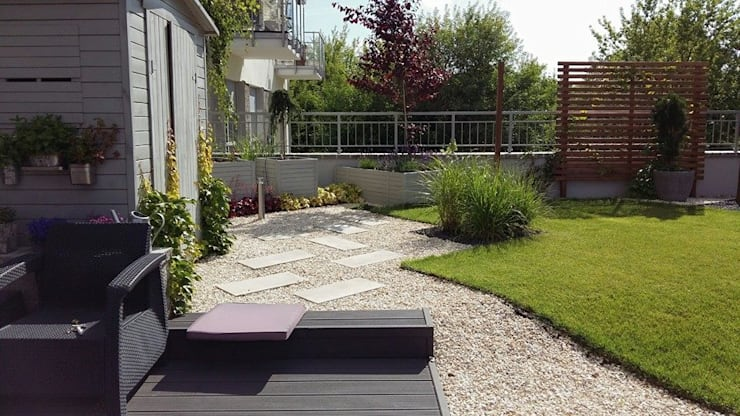 ogrody warszawa: styl , w kategorii Ogród zaprojektowany przez Ogrodowa Sceneria,Śródziemnomorski