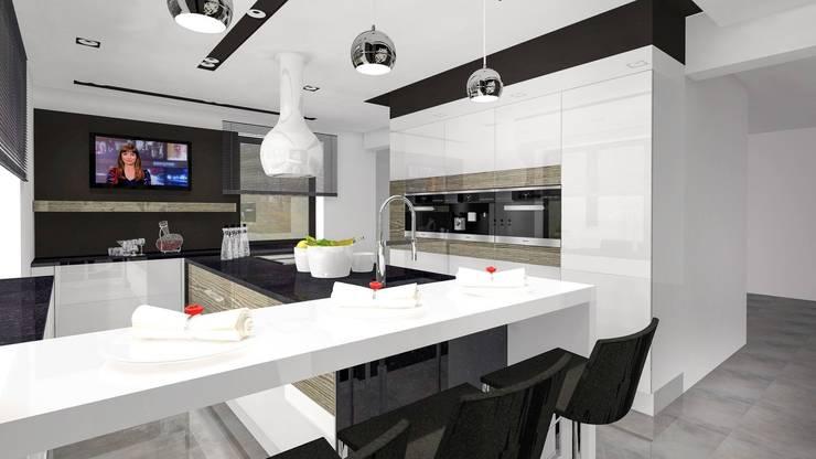 Kontrasty: styl , w kategorii Kuchnia zaprojektowany przez Justyna Kurtz,Nowoczesny
