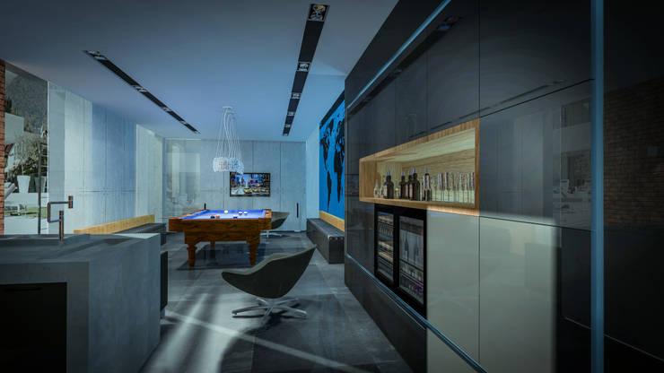 Gameroom: styl , w kategorii Pokój multimedialny zaprojektowany przez Justyna Kurtz,Nowoczesny