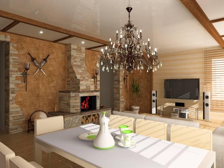 Гостиная в стиле Кантри: Гостиная в . Автор – Zamyatina.EV@mw-light.ru