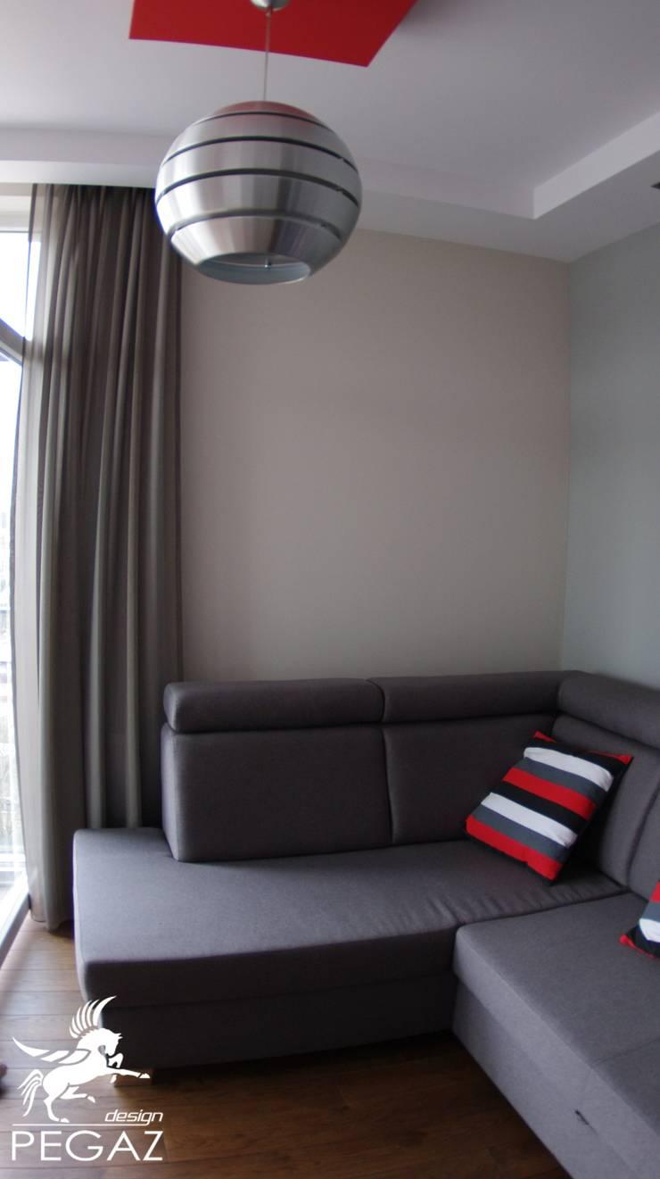 realizacja mieszkania z czerwienią w tle: styl , w kategorii Salon zaprojektowany przez Pegaz Design Justyna Łuczak - Gręda