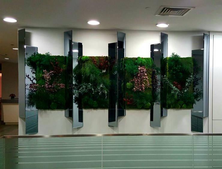 AYTÜL TEMİZ LANDSCAPE DESIGN – SÜZER PLAZA-DİKEY BAHÇE&İÇ MEKAN BİTKİLENDİRME // SUZER PLAZA - VERTICAL GARDEN&INDOOR PLANTING:  tarz Bahçe, Modern