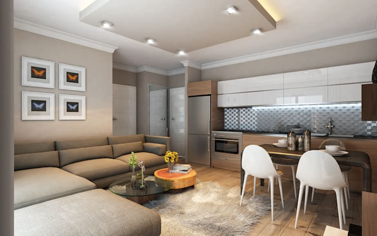 MİNERVA MİMARLIK – Salon ve açık mutfak:  tarz İç Dekorasyon