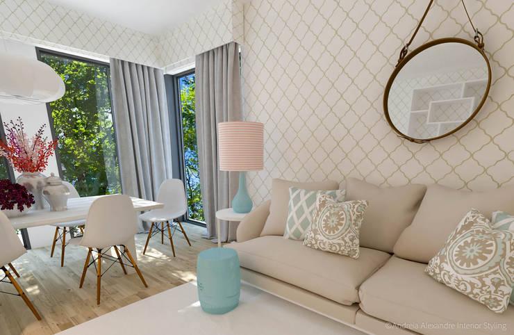 Projeto Decoração Sala - Pantone Colors 2016: Salas de estar  por Andreia Alexandre Interior Styling