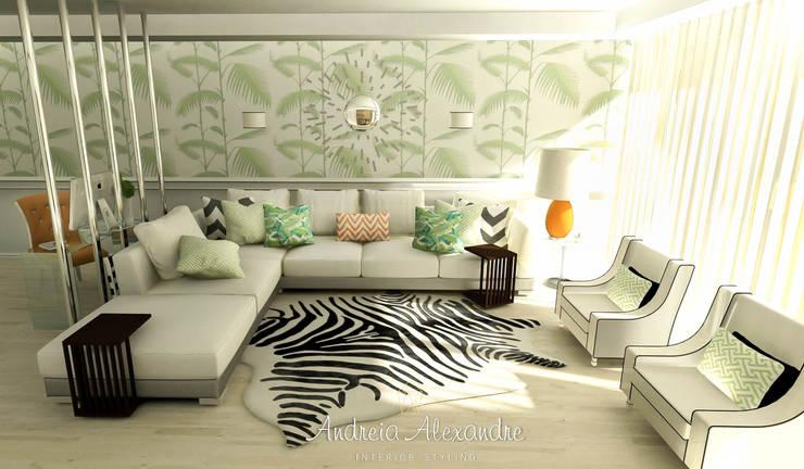 Projecto 3D Decoração Sala: Salas de estar  por Andreia Alexandre Interior Styling