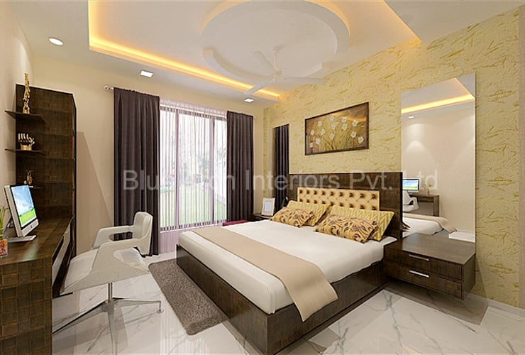Subramanium Residence (Mulund):  Bedroom by Bluearch Architects & Interiors