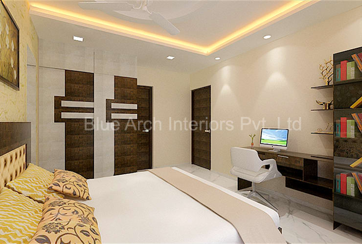 Subramanium Residence (Mulund): modern  by Bluearch Architects & Interiors,Modern Leather Grey