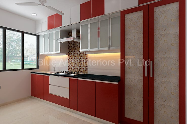 Subramanium Residence (Mulund):  Kitchen by Bluearch Architects & Interiors