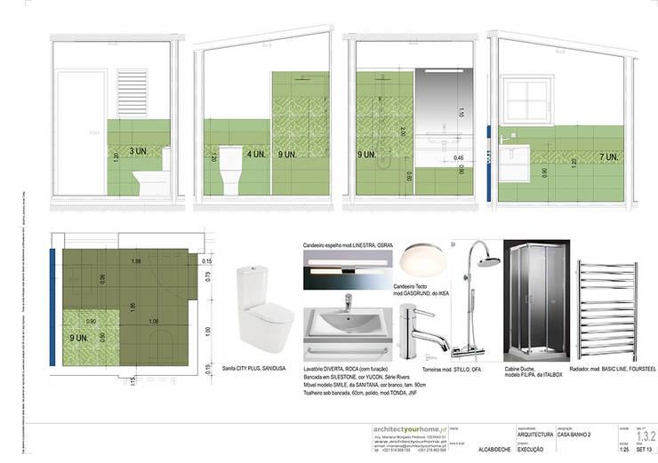 A casa de banho Acqua e Herbal:   por Architect Your Home