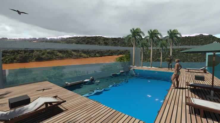 Mérit Hotel Iguazu: Piletas de estilo  por G+R Arquitectura