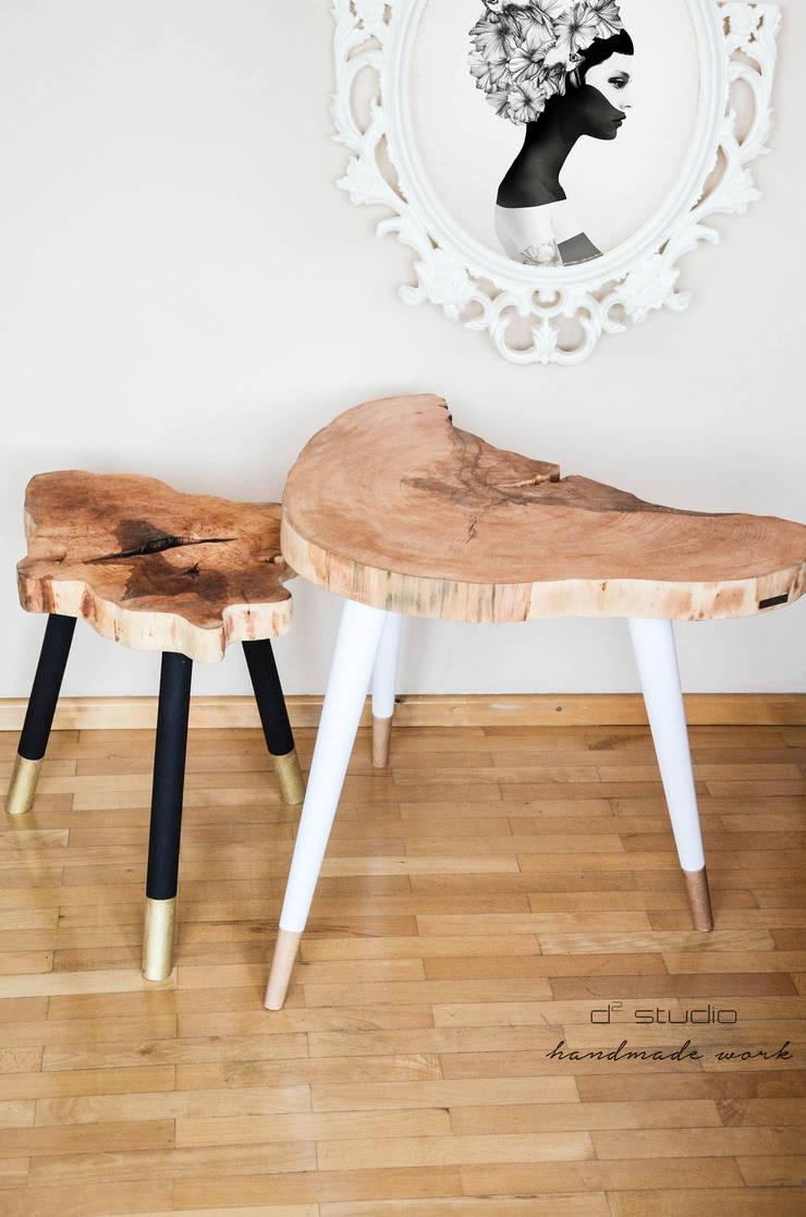 Coffee Table MICKY GOLD / Stolik kawowy MICKY GOLD: styl , w kategorii  zaprojektowany przez D2 Studio,Eklektyczny Drewno O efekcie drewna