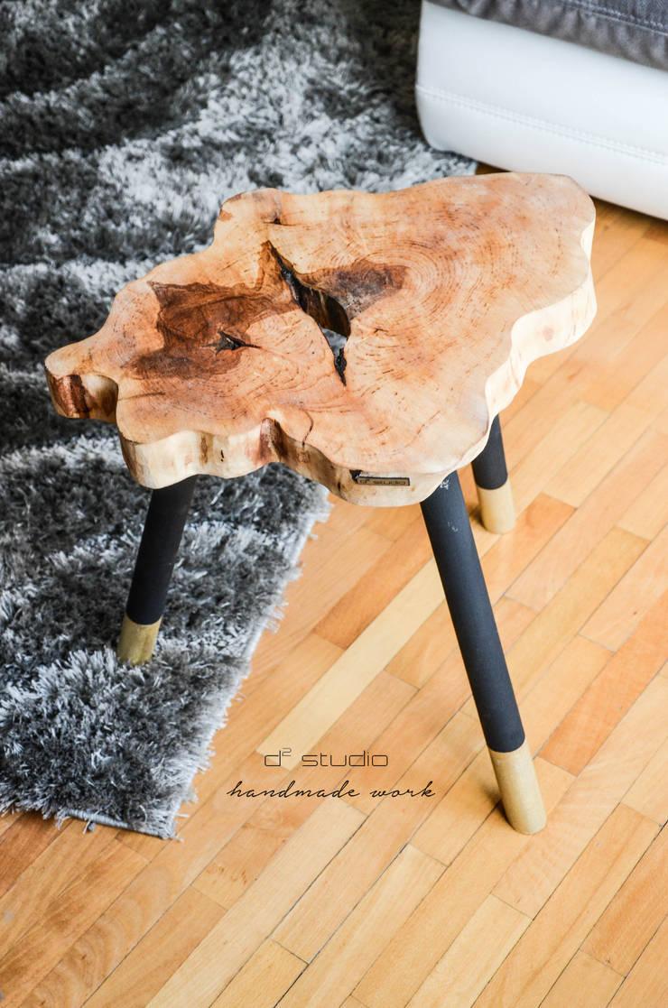 Coffee Table MICKY GOLD / Stolik kawowy MICKY GOLD: styl , w kategorii  zaprojektowany przez D2 Studio,Skandynawski Drewno O efekcie drewna